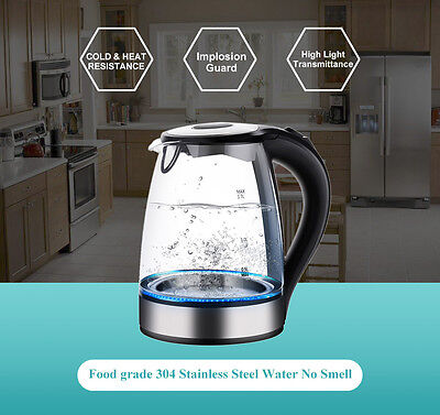 Illuminated Glass Kettle Electric Fast Boil Cordless Jug 2200W 1.7L Home Kettle