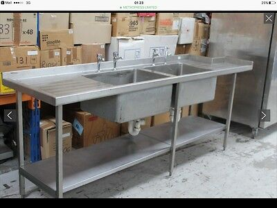 Stainless steel catering double sink & drainers *REDUCED*