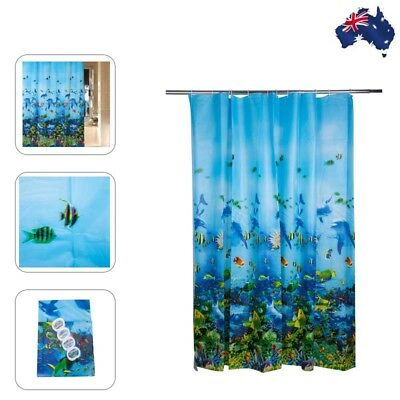 180* 180 cm Waterproof Ocean Bathroom Shower Curtain with 12 Rings Blue
