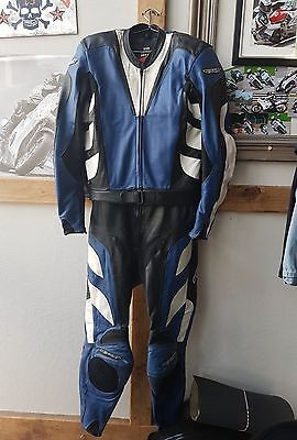 scott leather motorcycle biker two piece suit.