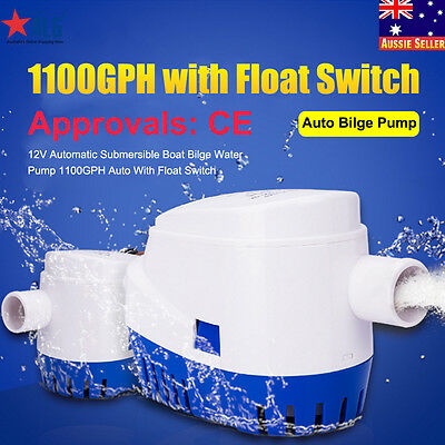 12V Boat Bilge Water Pump 1100GPH  Automatic Submersible Auto With Float Switch