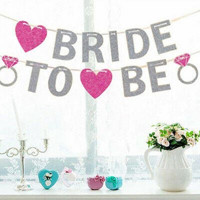Bride To Be Bridal Shower Glitter Banner Bunting Hen Night Party Decoration Uk
