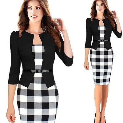 Ladies Pencil Formal 3/4 Sleeves Knee Length Patchwork Bodycon Dress For Women