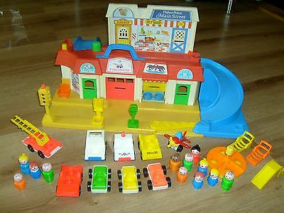 Vintage Fisher Price Main Street Playset With Vehicles And People