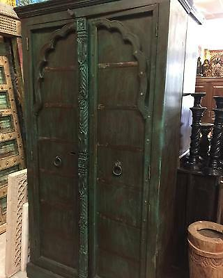 Antique Mehrab Style Wood Armoire Green Cabinet Storage Mediterranean Decor
