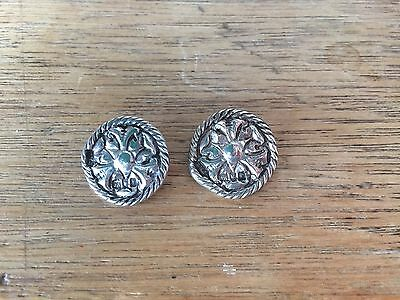 Antique TWO  silver buttons rose design Hallmarked London 1901