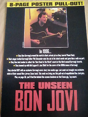 Original Bon Jovi 1996 Unseen Pull out Posters Kerrang Magazine to Frame?