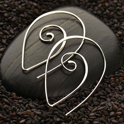 Boho Spiral Earrings 925 Sterling Silver Hoop Circle Swirl Large Geometric Zen