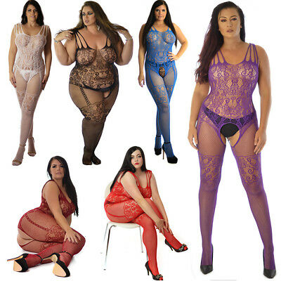 Fishnet Bodystocking Lingerie Catsuit Tights Hosiery  Plus+ One Size UK 6-26