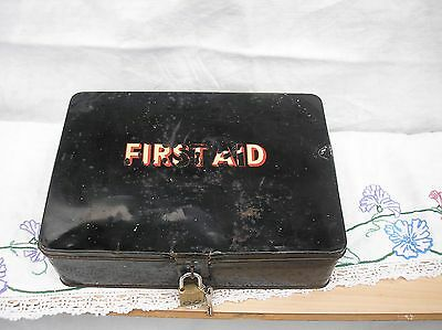 Vintage Retro  , Black Metal First Aid Box Tin with Contents