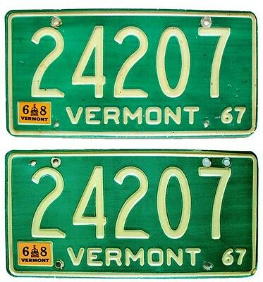 Vintage Vermont 1967 1968 License Plate Pair, Nice Quality, Green, Debossed