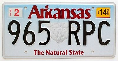 "Arkansas 2014 Diamond Graphic License Plate 965 RPC, ""The Natural State"", Ozarks"