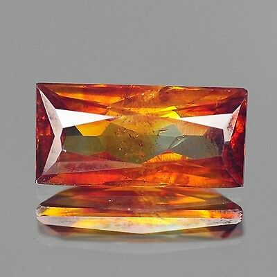 1.80cts Rare Natural Loose Gemstones Baguette Red Orange Sphalerite Free Ship