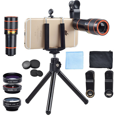 Apexel 4 in 1 12x Zoom Telephoto Lens + Fisheye + Wide Angle + Macro Lens with P