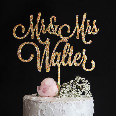Custom 3D Printed Wedding Cake Topper Your Last Name Mr and Mrs Gold Glitter