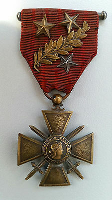 WW1 Original French Medal War Cross 1914-1915 Stars and Palm CROIX DU GUERRE