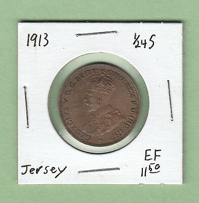 1913 Jersey 1/24 Shilling Coin - EF