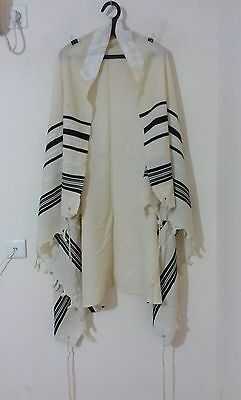 Used Kosher Tallit Prayer Shawl 100% Wool Size 45 60X44 Inch 152X112 Cm #1252