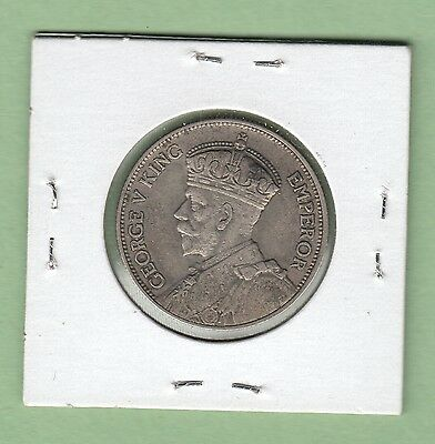 1933 New Zealand One Florin Silver Coin - VF