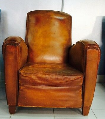 Poltrona Armchair Sedie Francese Cuoio Design Anni '40/'50 Vintage Modernariato