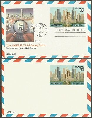 2-1986 The Ameripex 86 Stamp Show 33C Us Postal Cards 1-First Day Of Issue