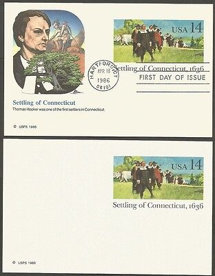2-1986 Settling Of Connecticut-1636 14C Us Postal Cards 1-First Day Of Issue