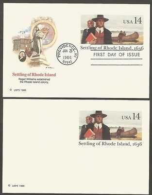 2-1986 Settling Of Rhode Island-1636 14C Us Postal Cards 1-First Day Of Issue