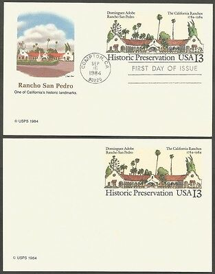 2-1984 Historic Preservation 13C Us Postal Cards 1-First Day Of Issue