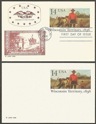 2-1986 Wisconsin Territory 1836 14C Us Postal Cards 1-First Day Of Issue
