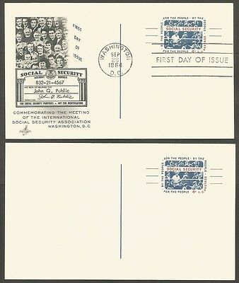 2-1964 Social Security 4C Us Postal Cards 1-First Day Of Issue