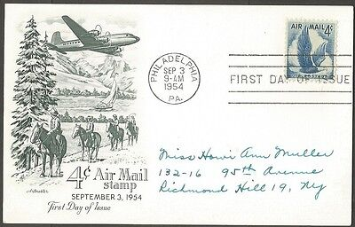 1954 Us 4C Air Mail Stamp Postal Card Artmaster First Day Of Issue