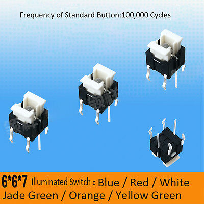 6 x 6 x 7mm LED Illuminated Switch Momentary Push Button Tactile SPST Micro PCB