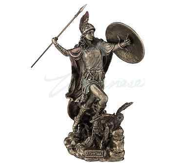 Athena Throwing Javelin With Owl Of Wisdom Statue Sculpture Figurine