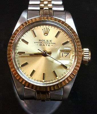 rolex oyster perpetual date automatik 18k 750 vollgold bezel bicolor damen uhr eur. Black Bedroom Furniture Sets. Home Design Ideas