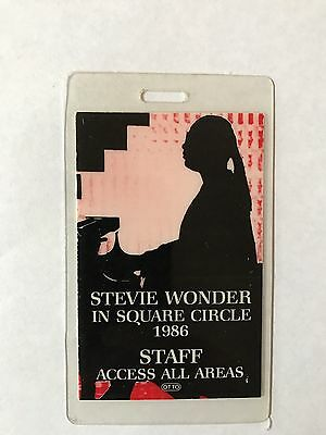 RARE Stevie Wonder 1986 Staff Backstage Pass Tour Laminate Square Circle Otto