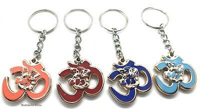 Om Ganesha Key ring chain holder metal colored Bag charm Hindu Ganesh Ganpati