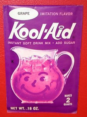 VINTAGE 1960's KOOL-AID FULL PACK Sealed Mip GRAPE FLAVOR old store stock NOS !!