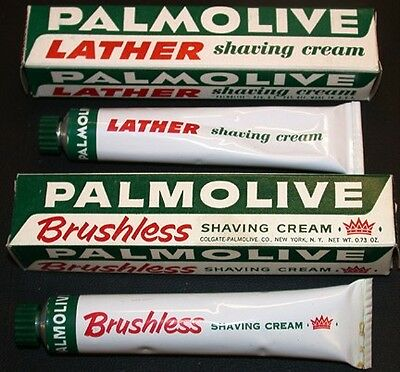2 VINTAGE Tubes 1950's PALMOLIVE LATHER  BRUSHLESS SHAVING CREAM Store Stock MIB