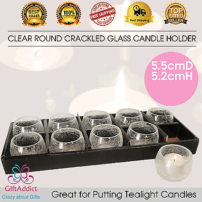 Clear Round Crackle Glass Tealight Candle Holder 5.5cmD*5.2cmH Wedding Party