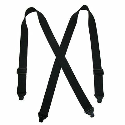 CTM Men's Elastic Plastic Clip-End TSA Compliant Airport Suspenders Black