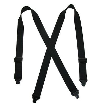 CTM Men's Elastic Suspenders Plastic,Clip-End Airport USA Made TSA Compliant Blk