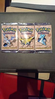 Pokemon-X3 Factory Sealed First Edition Fossil Booster Pack- All Art Works- Mint