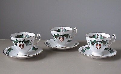 Adderley Newfoundland Tartan Footed Cups and Saucers, Set of (3)