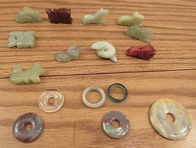 Collection of vintage Chinese carved jade amulets animals, rings, pendants 130g
