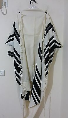 Used Kosher Tallit Prayer Shawl 100% Wool Size 60 72X64 Inch 184X164 Cm #1264