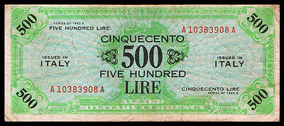 Italy Italia M-22 Allied Military Currency 500 Lire 1943A Banknote