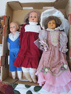 """Lot of Three (3) Antique Celluloid Head Dolls on Kid Bodies ~ 14"""", 16"""" and & 18"""""""