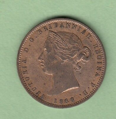 1866 Jersey 1/13 Shilling Coin - VF (Cleaned)