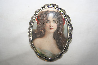 Gorgeous large Edwardian portrait on ceramic brooch with silver mount