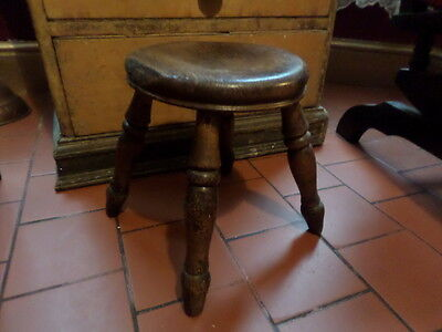 Antique Victorian  English Solid Oak Milking Stool Stamped Sl